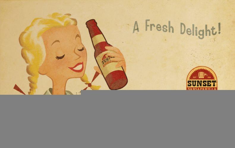 FALLOUT drink girl text wallpaper