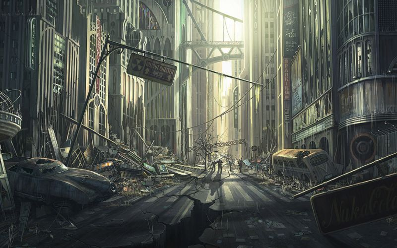 FALLOUT sci-fi city apocalyptic h wallpaper