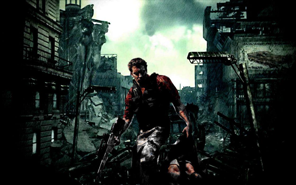 FALLOUT sci-fi city apocalyptic warrior       f wallpaper