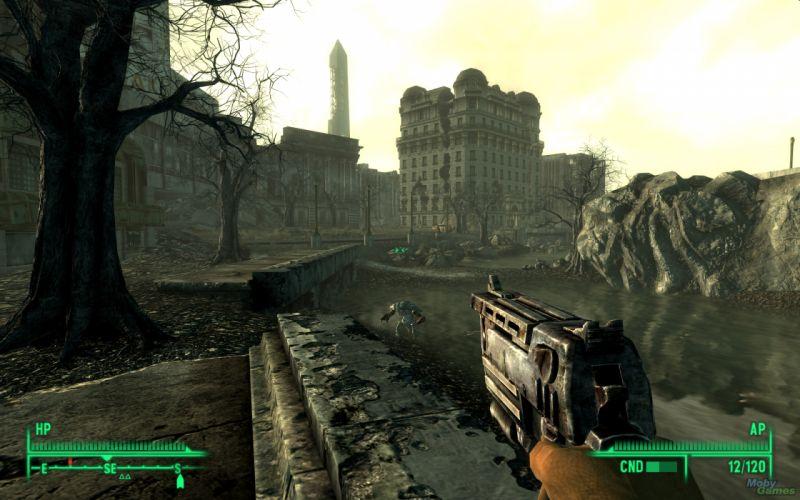 FALLOUT sci-fi city apocalyptic warrior city weapon gun wallpaper