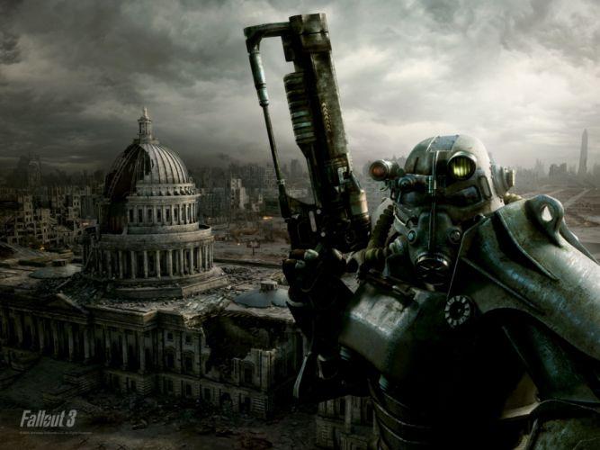 FALLOUT sci-fi city apocalyptic warrior armor mask city weapon gun f wallpaper