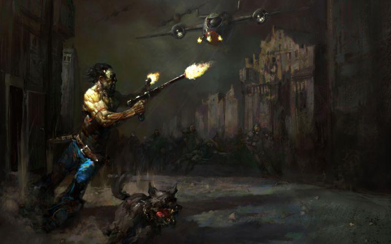 FALLOUT sci-fi warrior apocalyptic battle dark g wallpaper