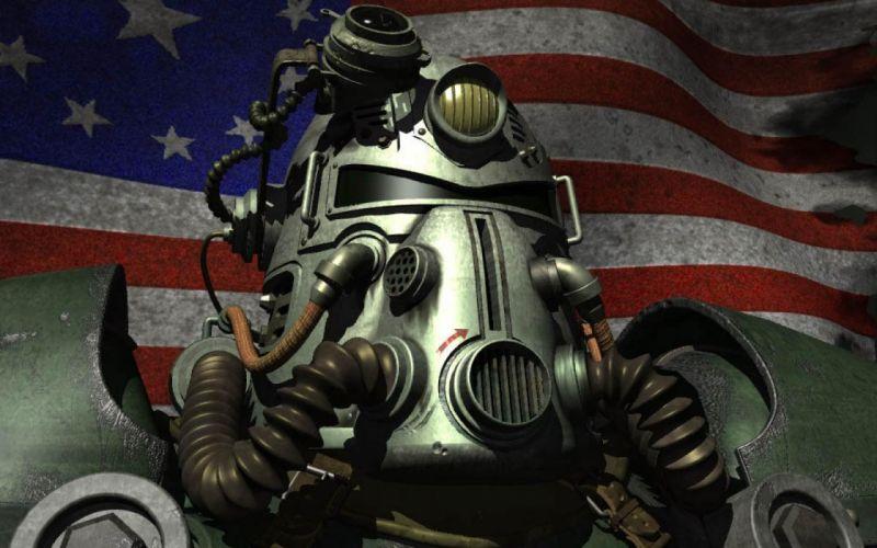 FALLOUT sci-fi warrior armor mask fw wallpaper