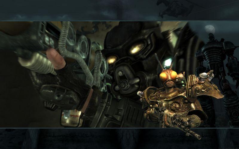 FALLOUT sci-fi warrior armor mask weapon gun g wallpaper