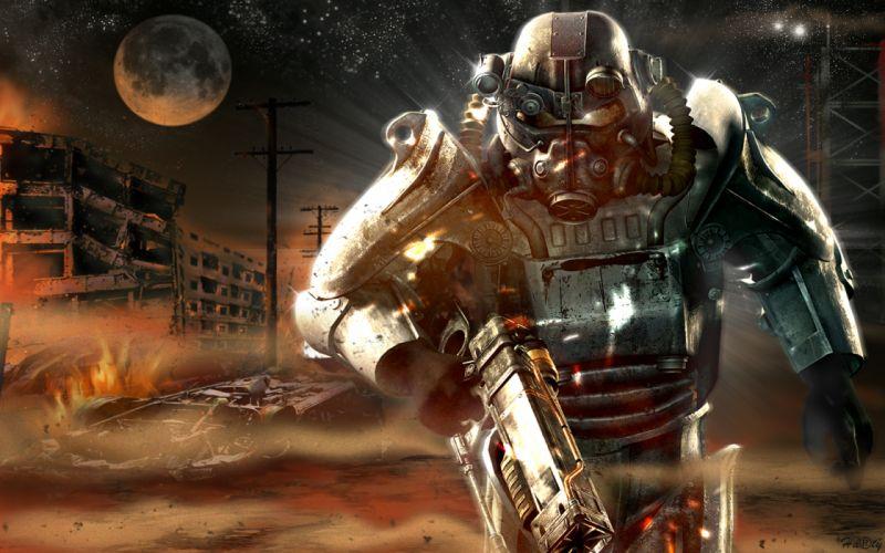 FALLOUT sci-fi warrior mask weapon gun apocalyptic f wallpaper