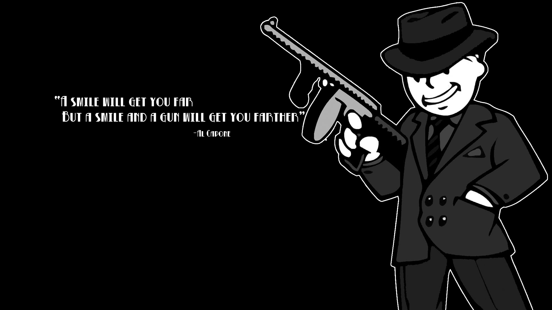 FALLOUT Weapon Gun Text Quote Dark Wallpaper