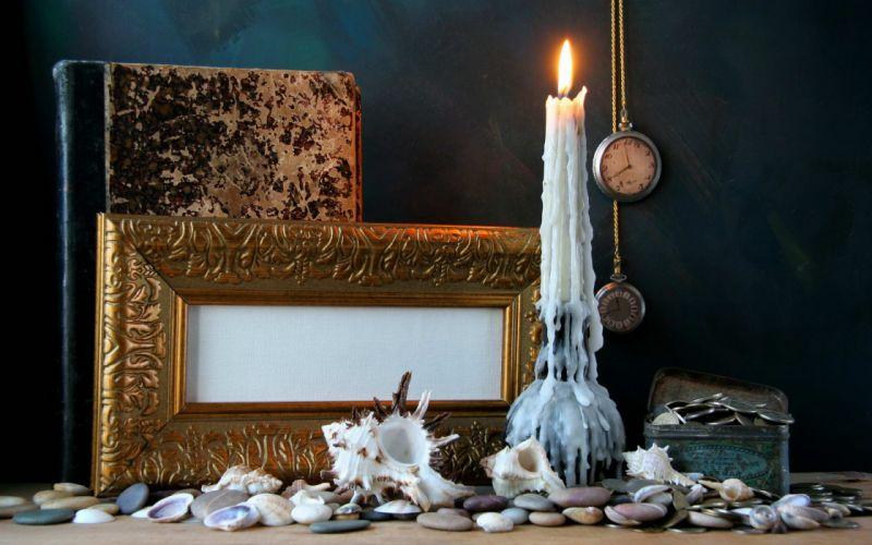 candle book clock watch bokeh time shell wallpaper