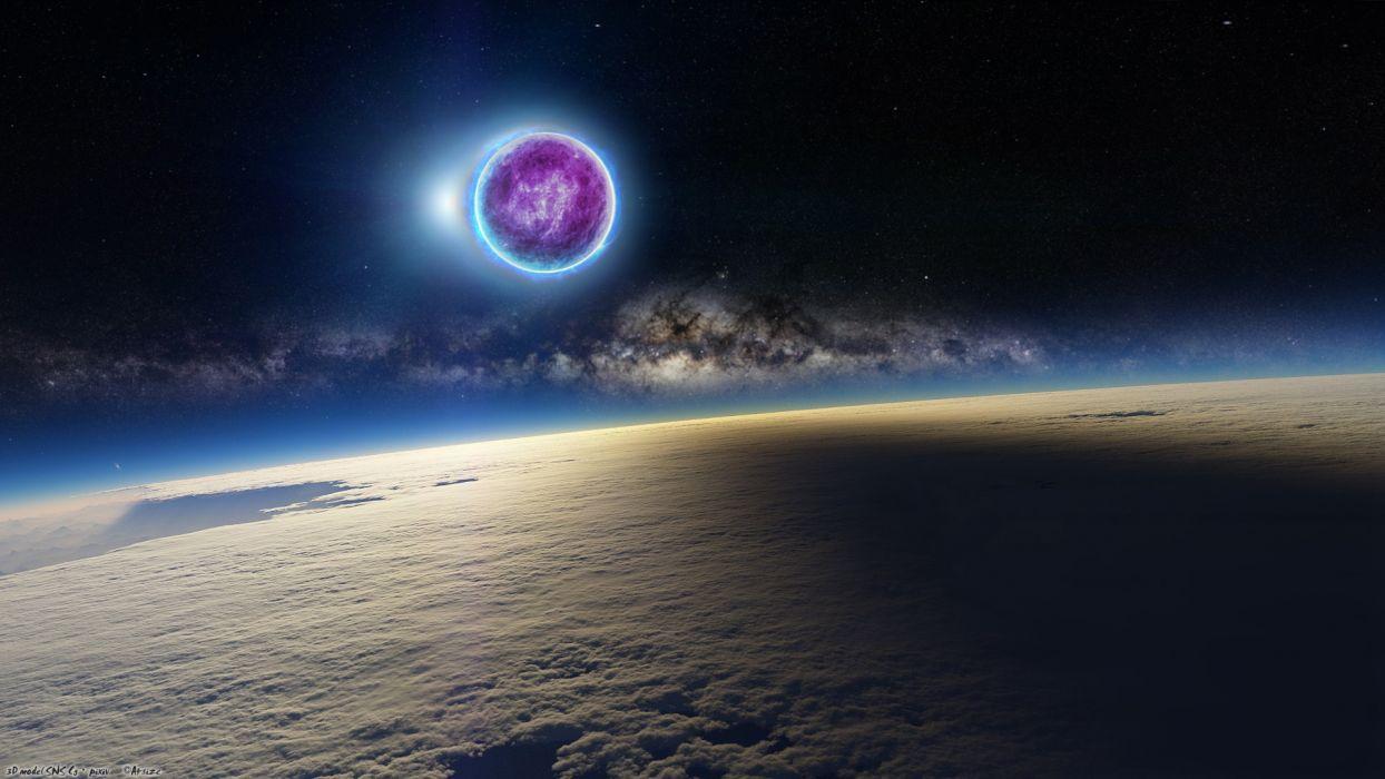 Planet Shadow Stars Galaxy Starlight wallpaper