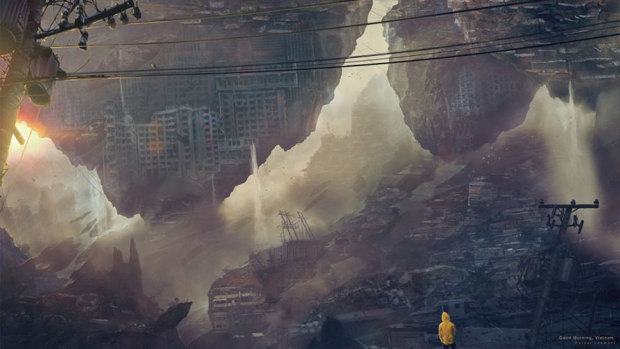 Buildings Abstract Apocalyptic Person Rubble wallpaper