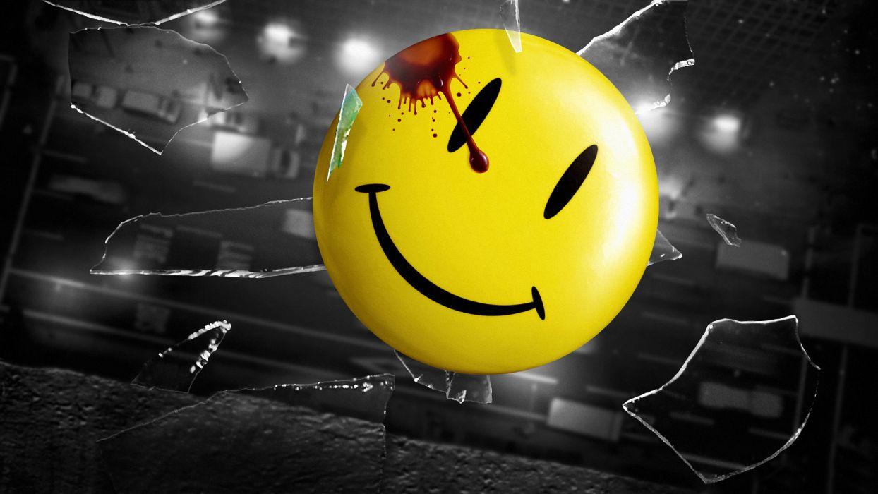 Watchmen Smiley Face Broken Glass Shattered Blood wallpaper
