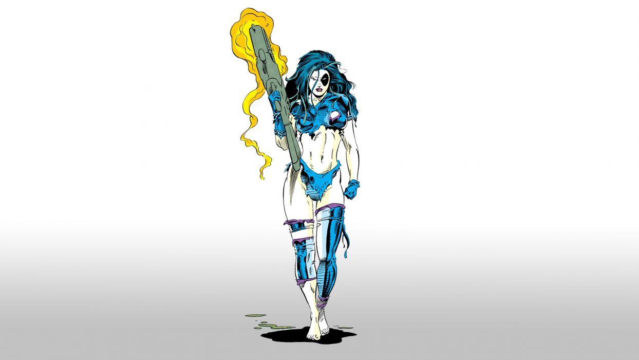 Domino Marvel cyborg superhero sci-fi wallpaper