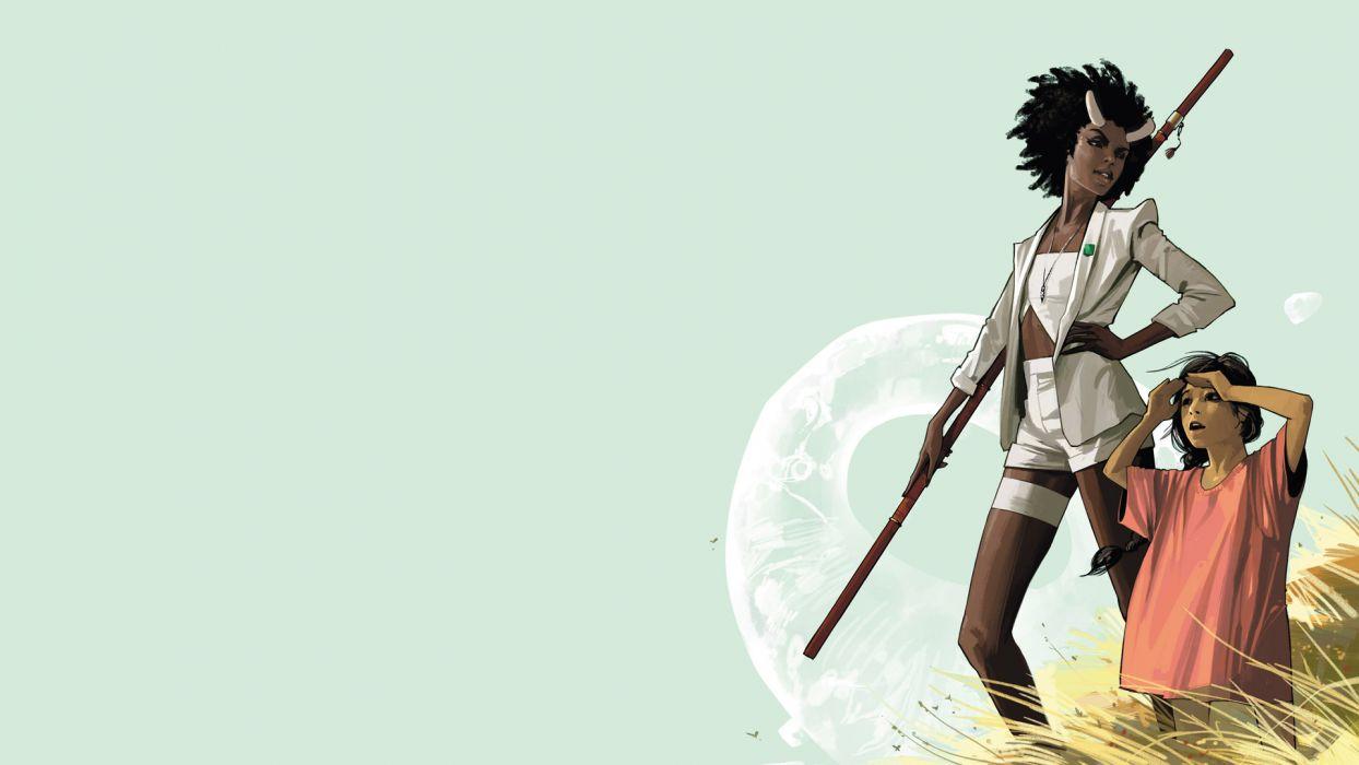 Saga #14 comics fantasy warrior girl wallpaper