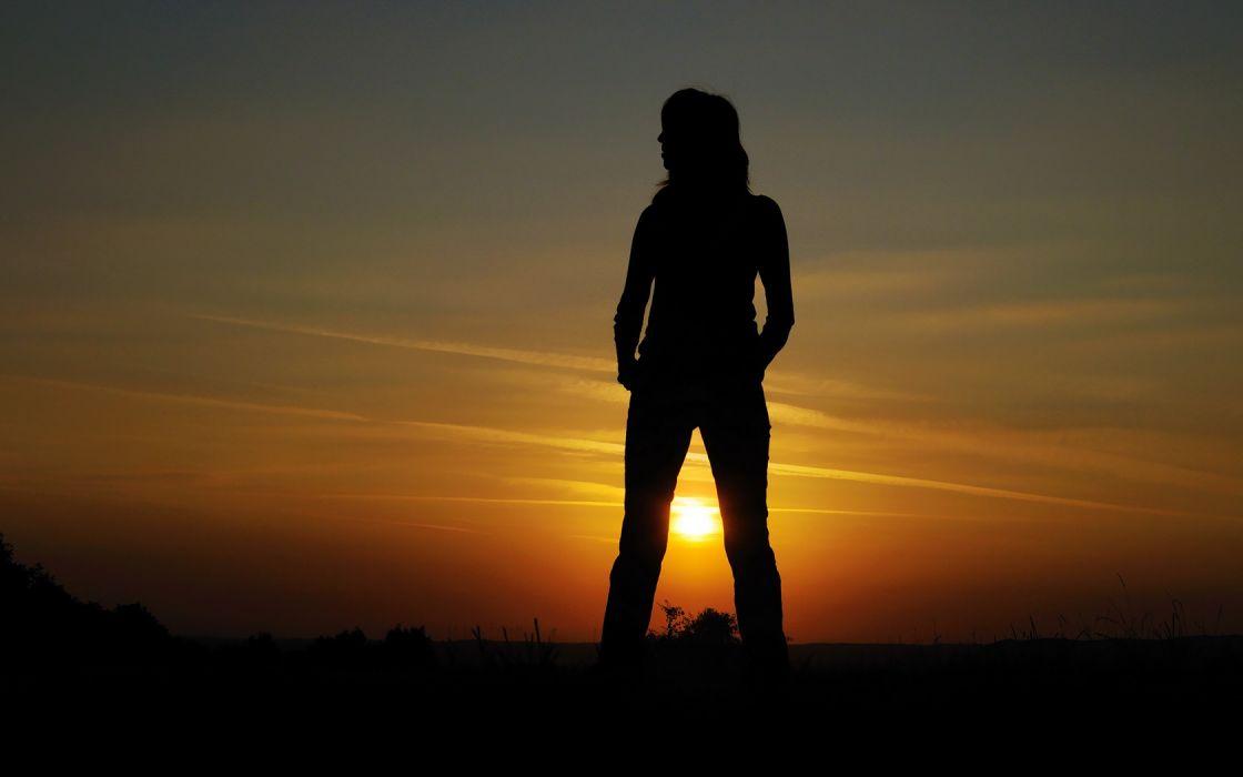Woman Girl Silhouette wallpaper