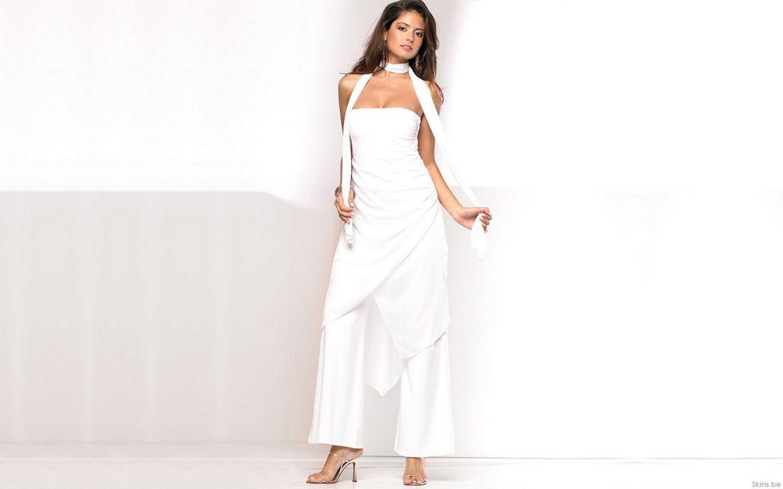 Woman Girl Beauty Brunette Carla Ossa White Dress Model Colombia wallpaper