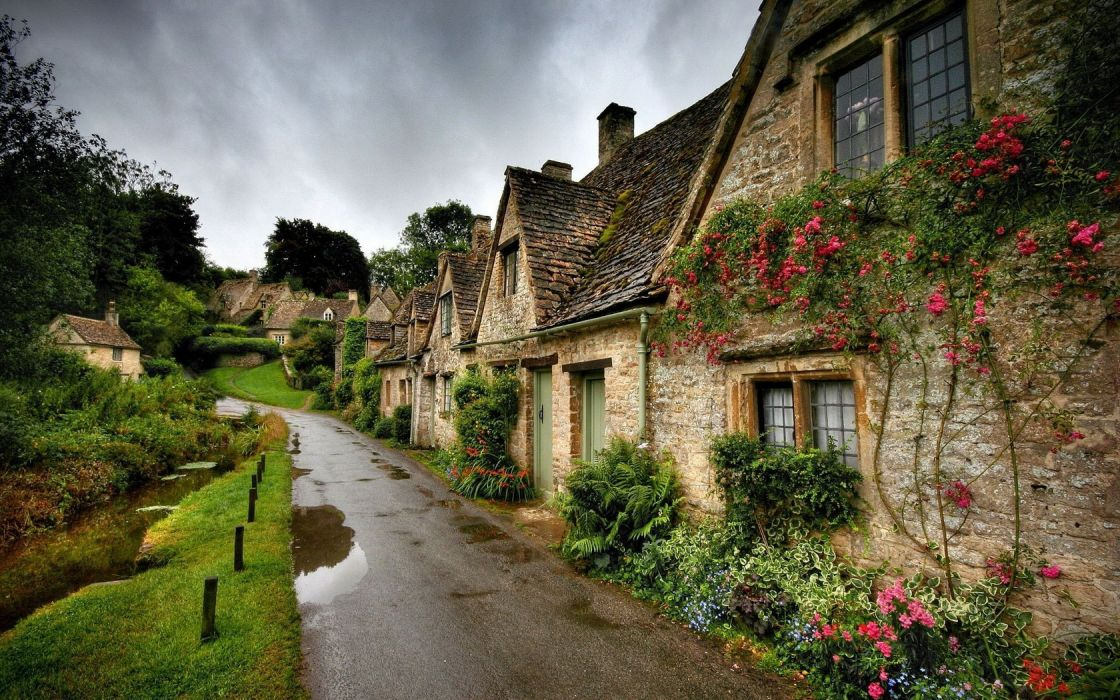 Architecture Village Houses Road wallpaper