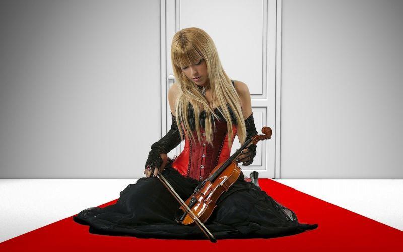 girl model blonde violin asian mood blonde gothic wallpaper