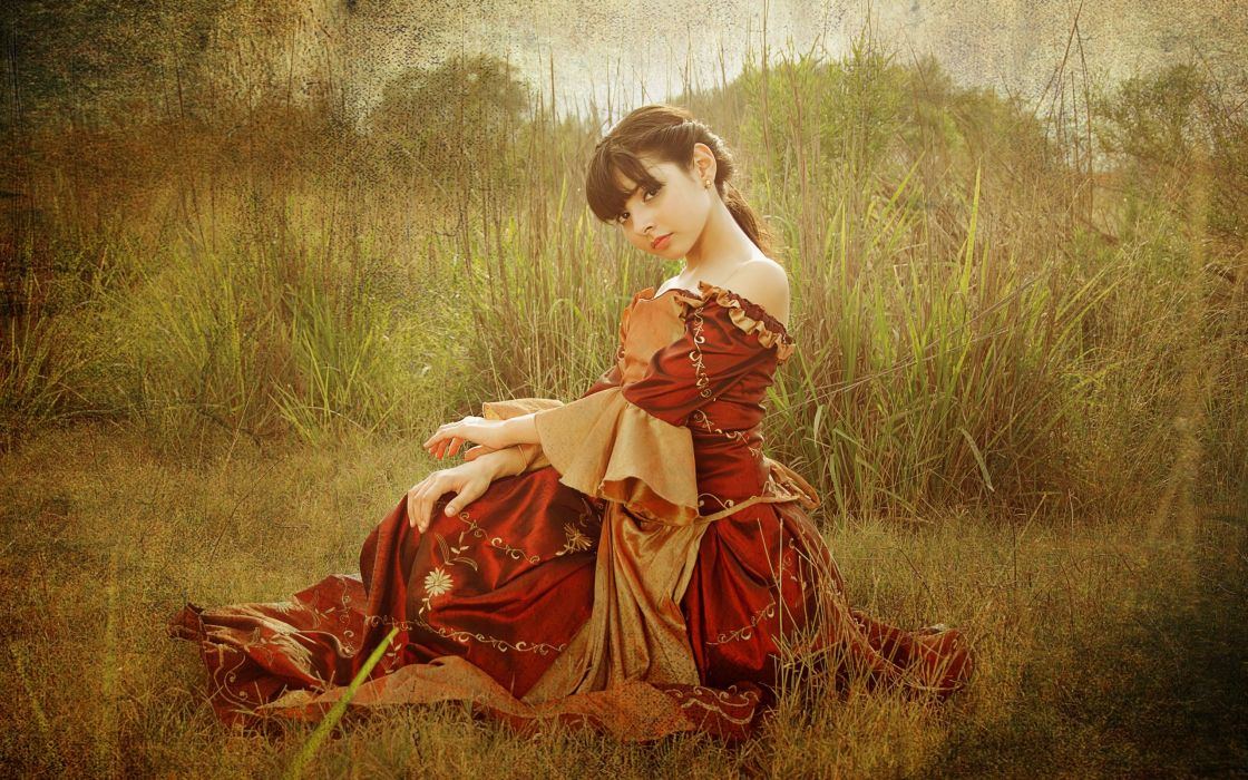 dress texture lawn brunette mood wallpaper