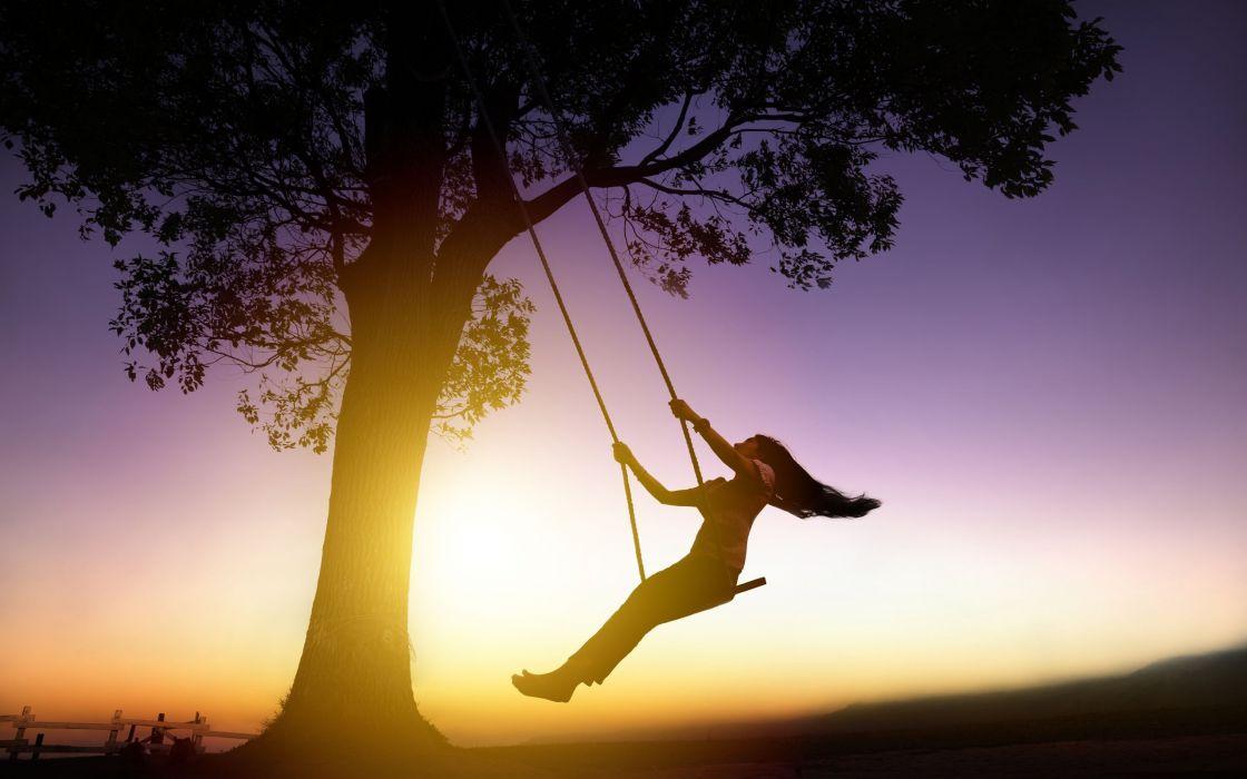 mood silhouette girl sunset swing wallpaper