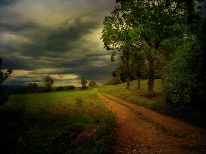 dirt road clouds trees wallpaper