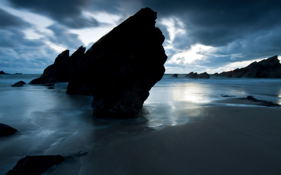 nature landscape ocean sea beach sky clouds reflection wallpaper