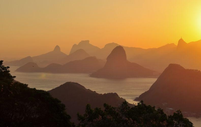 gold sky sunset brazil sea ocean lake wallpaper