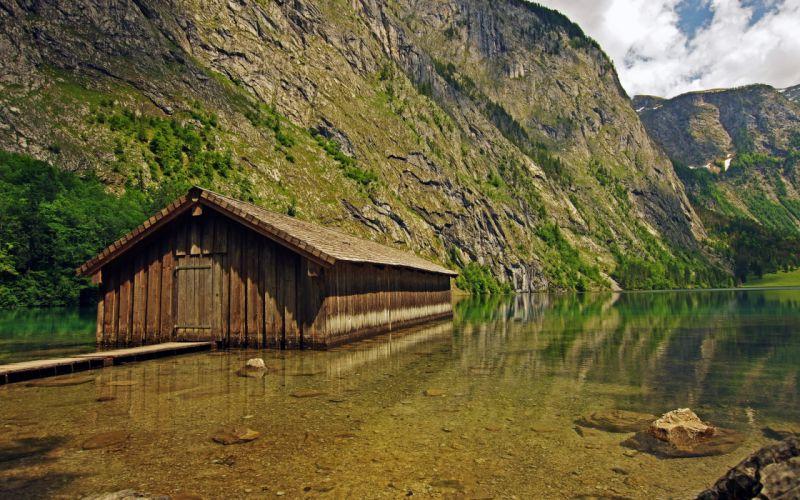mountain lake lodge landscape wallpaper