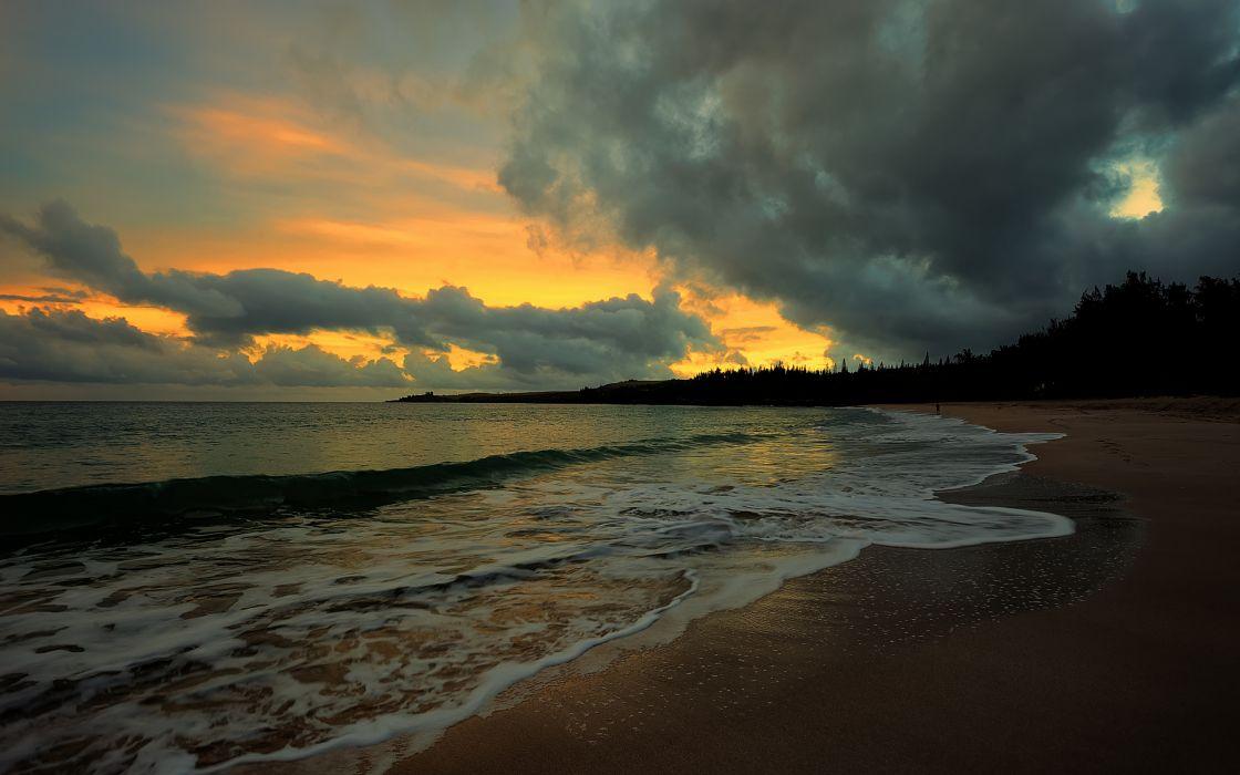 Sunset water sea beach evening clouds ocean wallpaper