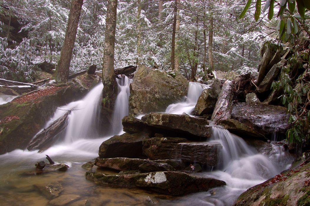 forest winter rocks waterfall nature wallpaper