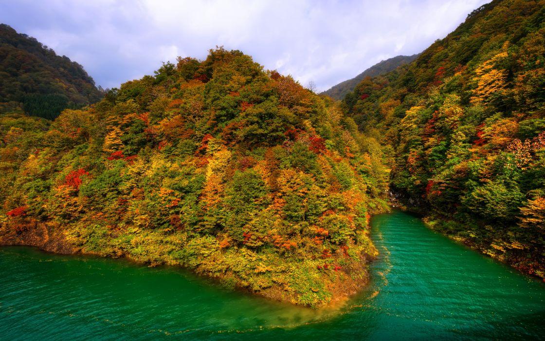 mountains japan fall forest lake autumn lake wallpaper