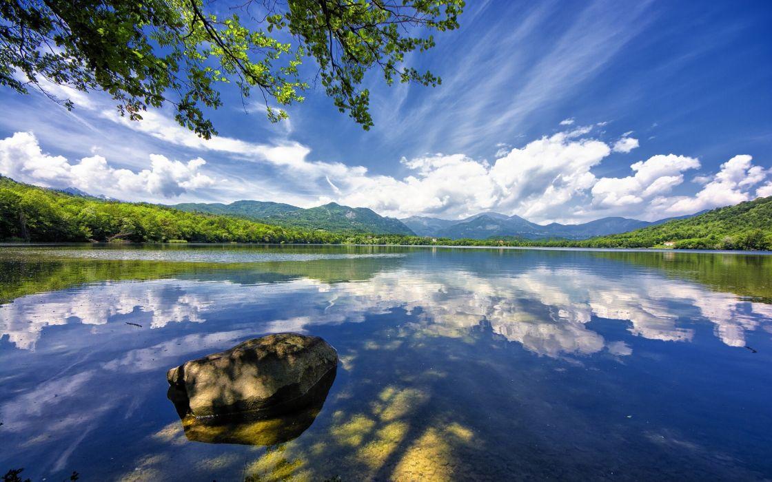 Avigliana Italy lake clouds reflection stone landscape wallpaper