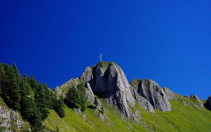 Germany mountains sky landscape cross religion wallpaper