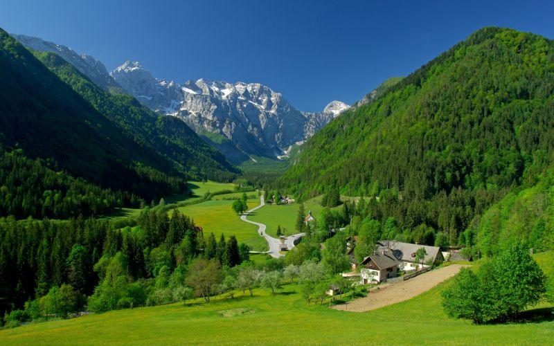 spring alpine valley mountains fields landscape wallpaper