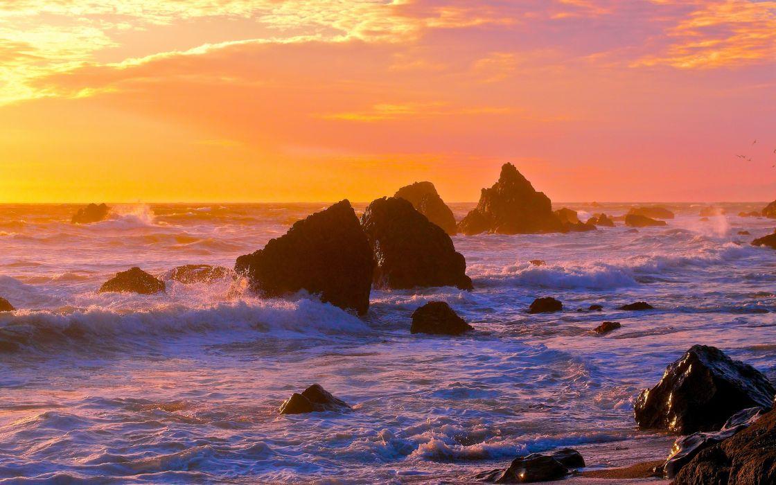 sunset sea rocks waves landscape ocean wallpaper