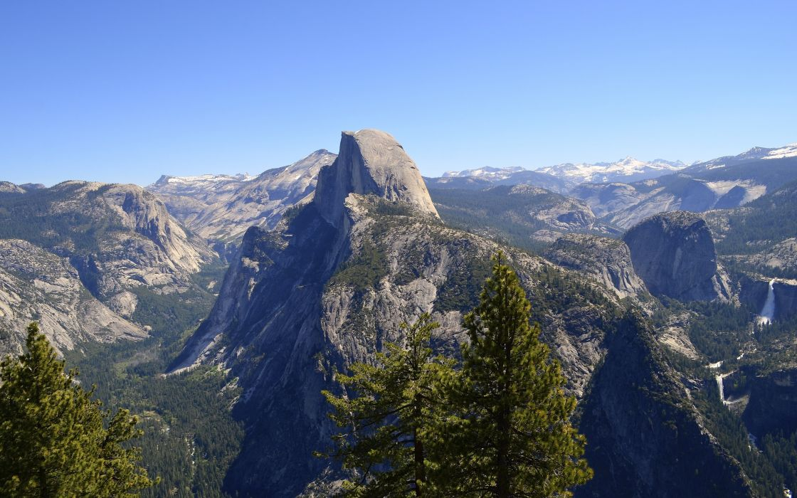 Yosemite National Park waterfall forest mountains    f wallpaper