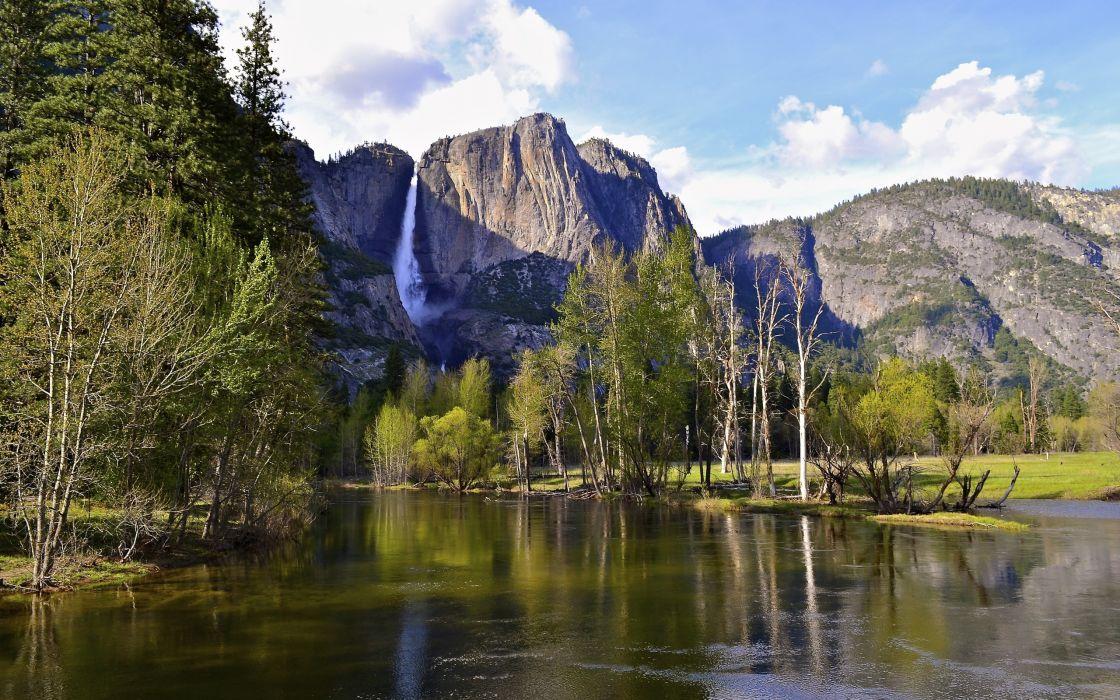 yosemite national park usa landscape river mountains wallpaper