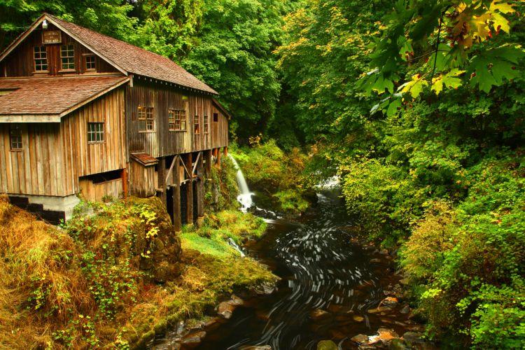 Cedar Creek Grist Mill autumn river stream forest house building fall wallpaper