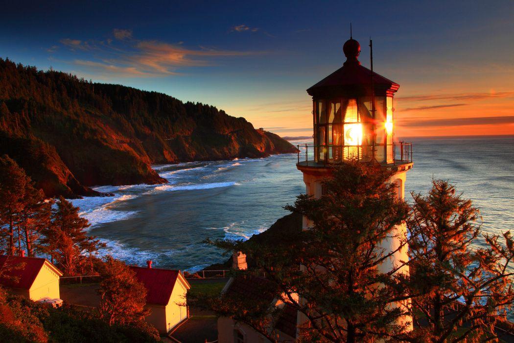 Oregon Coast sea lighthouse sunset landscape ocean sunrise autumn wallpaper