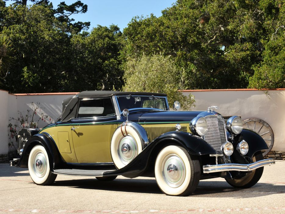 1933 Lincoln Model-KA Convertible Roadster by Murray retro b-w luxury wallpaper