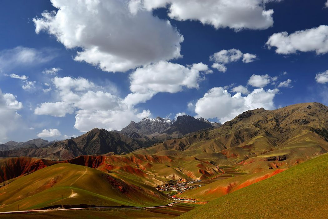 China landscape mountains village houses sky clouds     f wallpaper