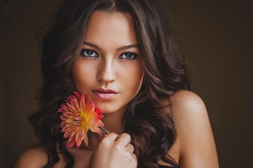 girl brunette flower beauty mood wallpaper
