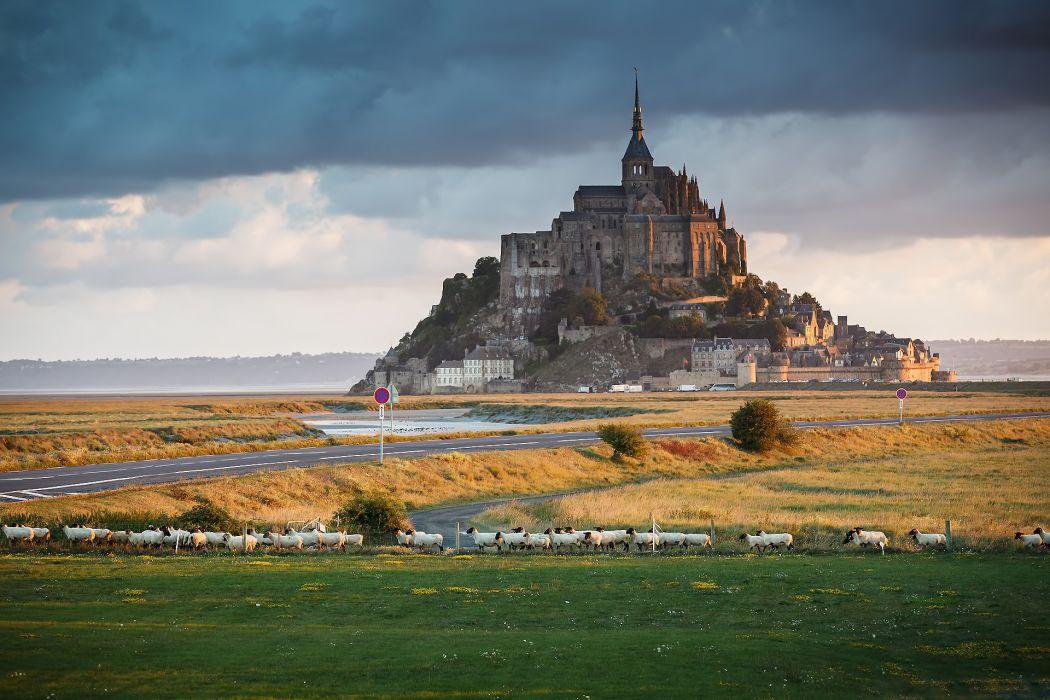 Le Mont Saint Michel France Cathedral Castle Wallpaper