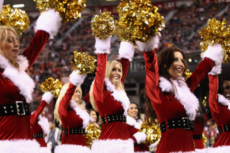 SAN FRANCISCO 49ers nfl football cheerleader christmas holiday sexy babe wallpaper