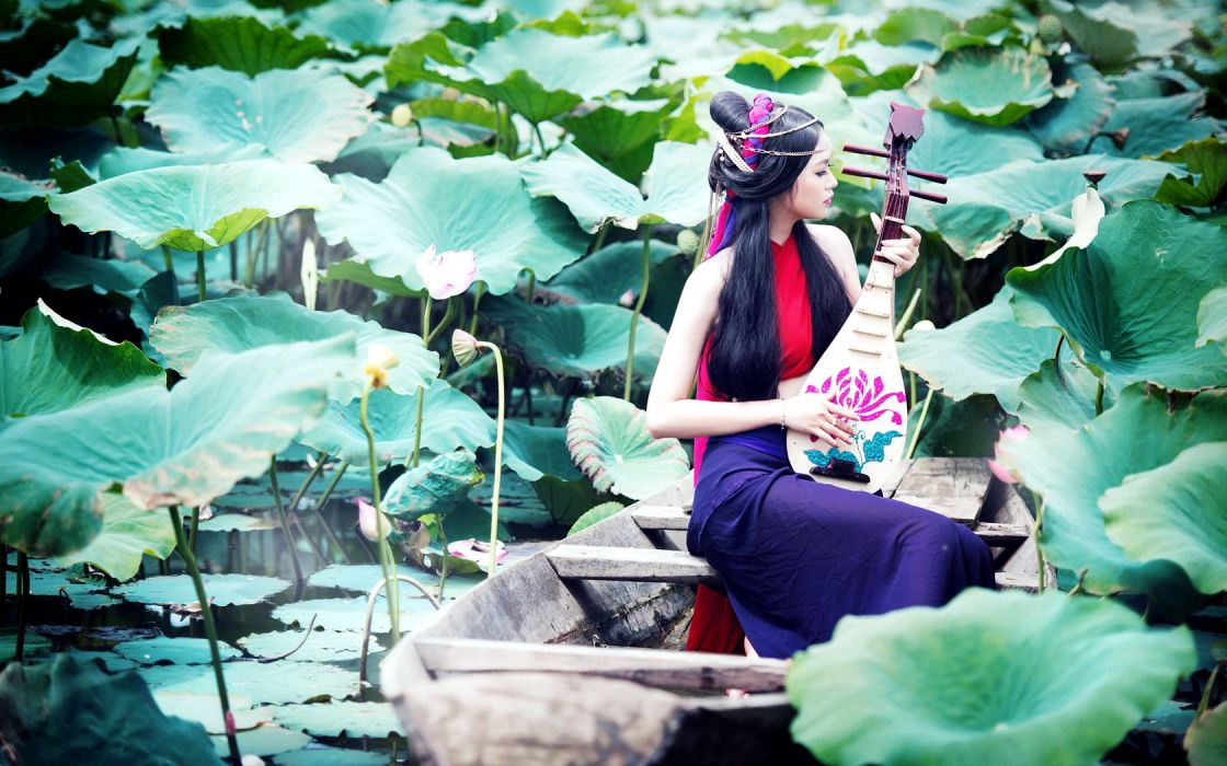Girls and Music Asian Lake Lute wallpaper