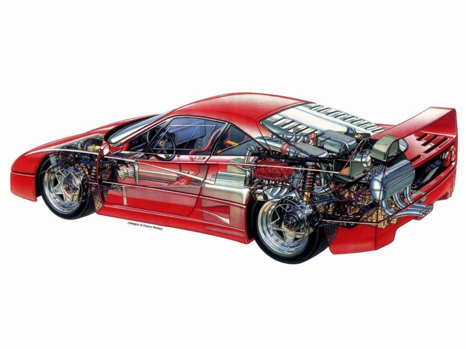 1987 Ferrari F40 Classic Supercar Engine Interior G Wallpaper