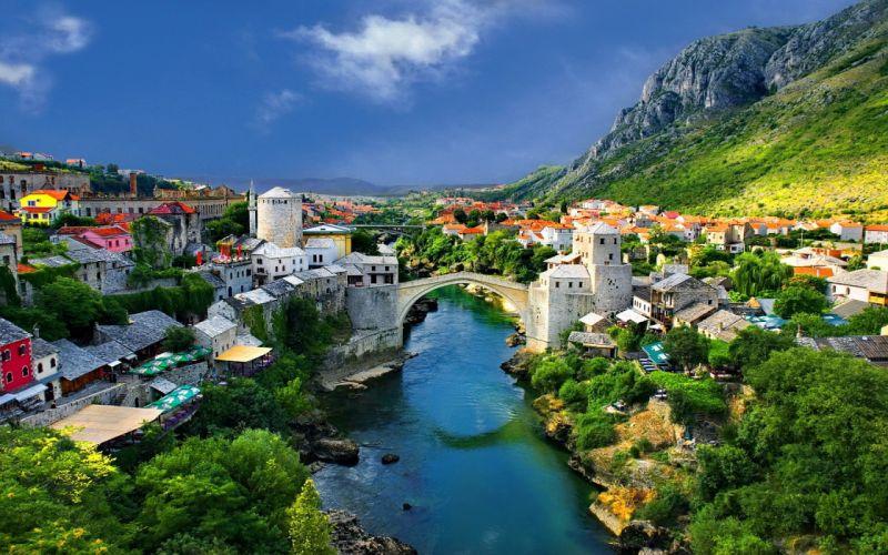 Cityscape Mostar Bosnia wallpaper