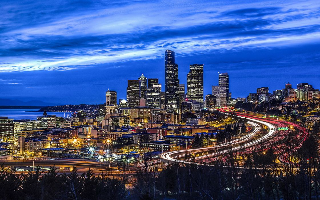 Cityscape Seattle Jose Rizal Park wallpaper