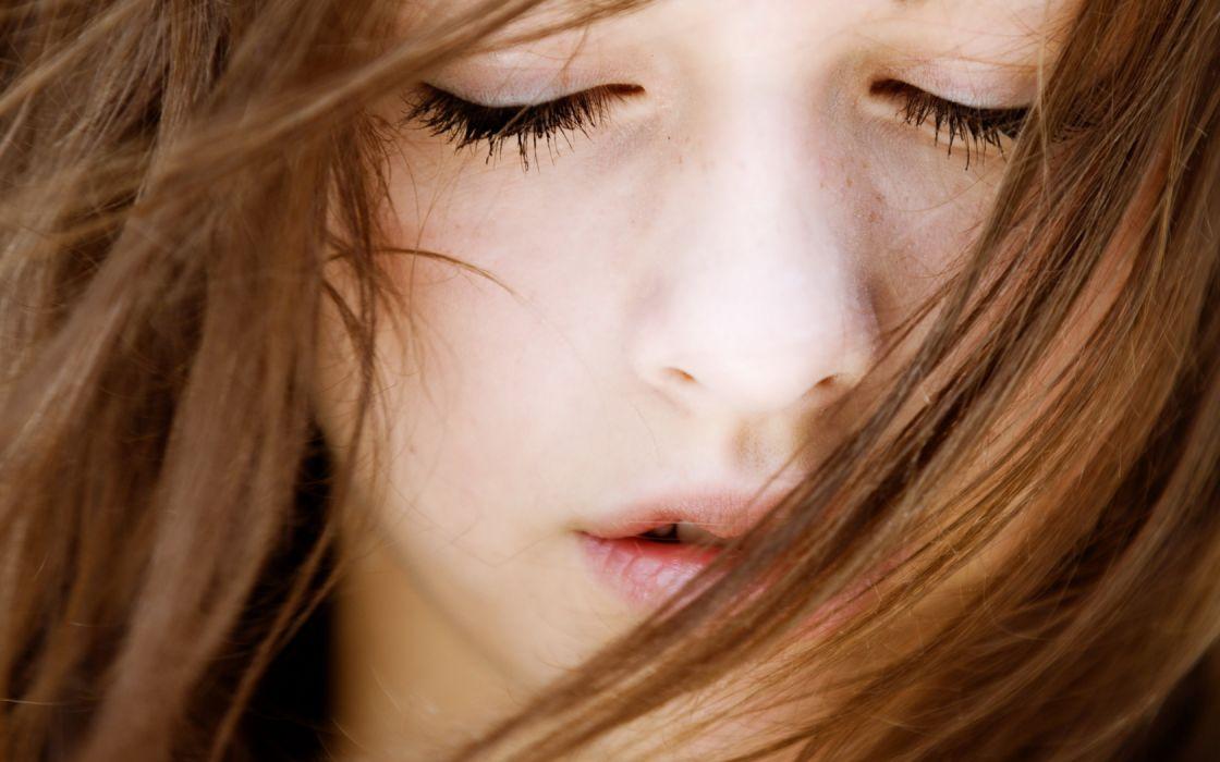 Woman Girl Beauty Eyes Closed Close Up wallpaper