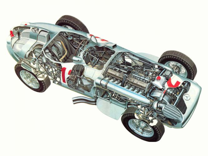 1954 Mercedes Benz 300 SLR W196R formula one f-1 race racing retro interior engine h wallpaper