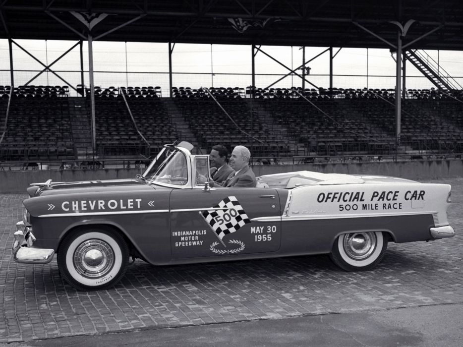 1955 Chevrolet Bel Air Convertible Indy 500 Pace Car 2434-1067D race racing retro wallpaper