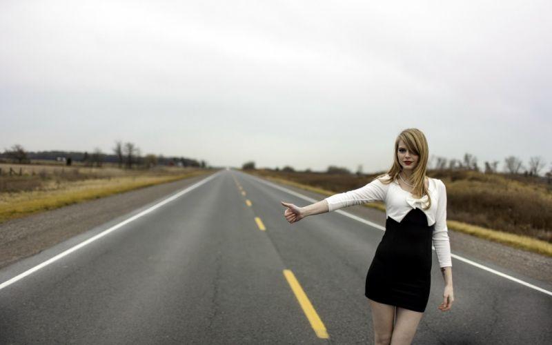 Girl Hitchhiker Road wallpaper